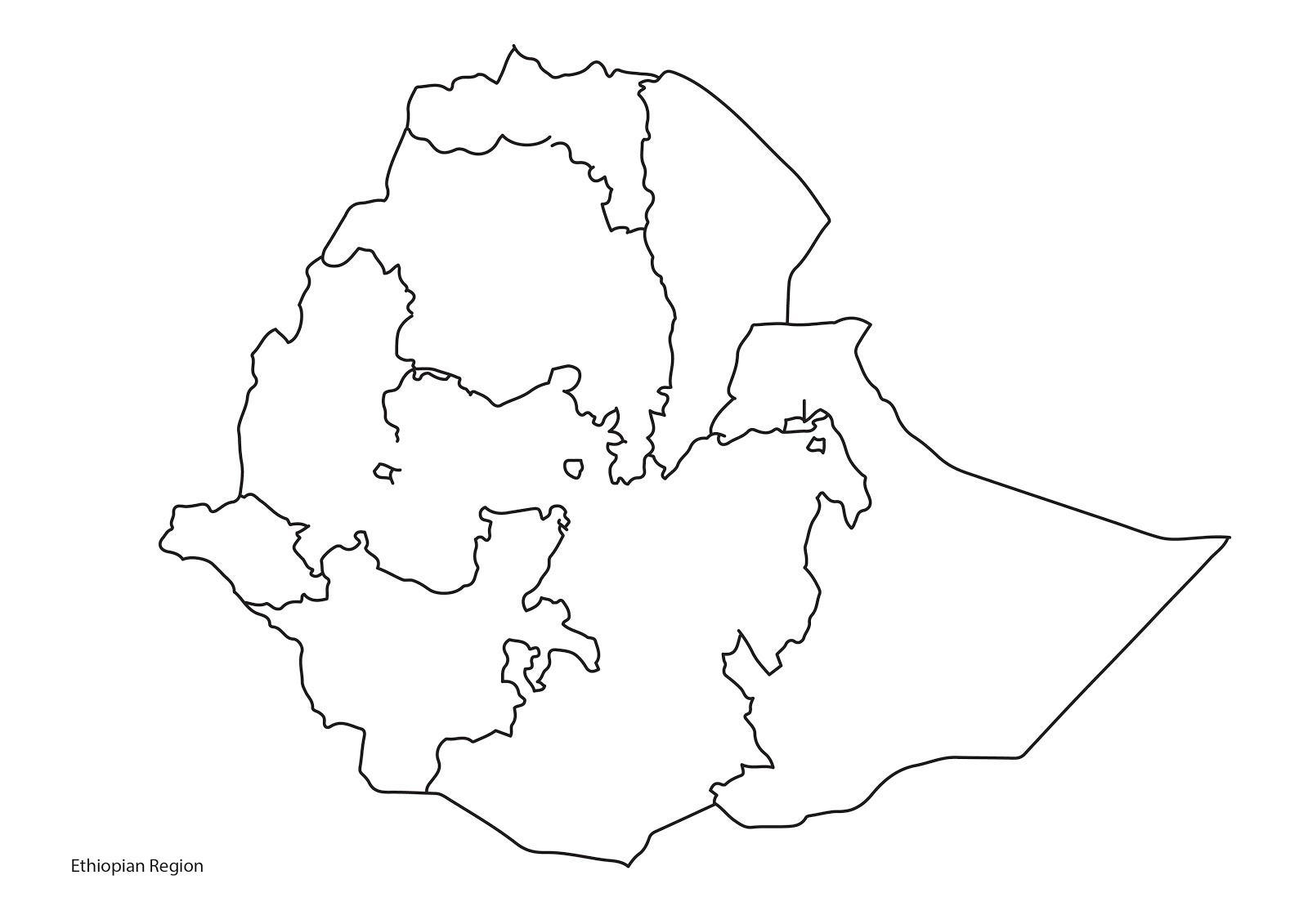 Etiopie Mapa Obrys Slepa Mapa Etiopii Vychodni Afrika Afrika