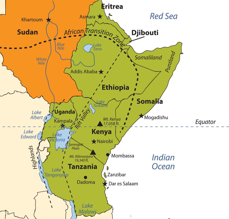 Etiopske Nahorni Plosine Afrika Mapa Mapa Etiopske Nahorni