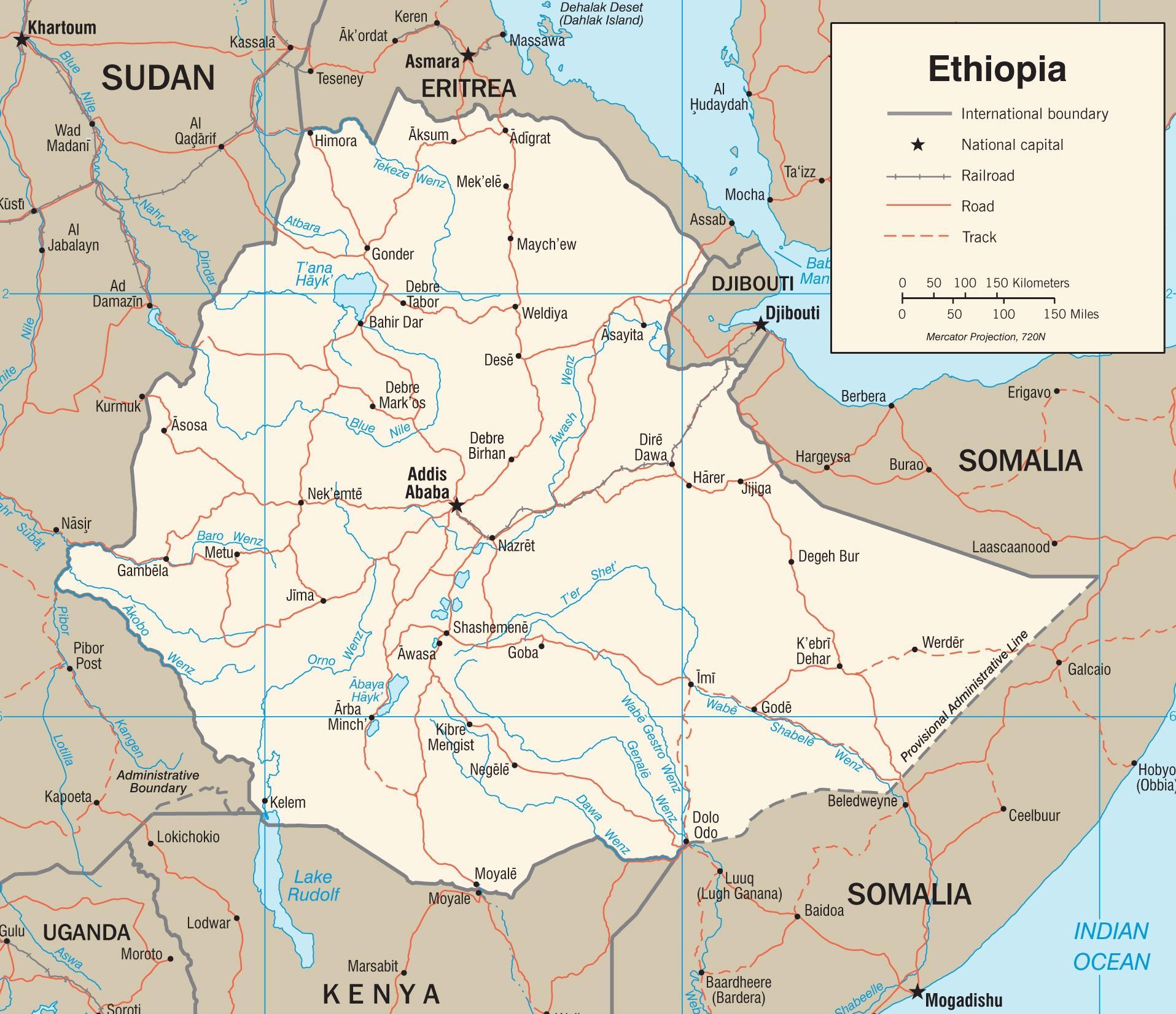 Mapa Etiopie Nove Etiopie Mapa Vychodni Afrika Afrika
