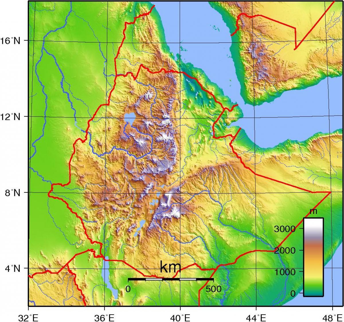 Etiopske Vysociny Mapa Etiopske Vysociny Afrika Mapa Vychodni